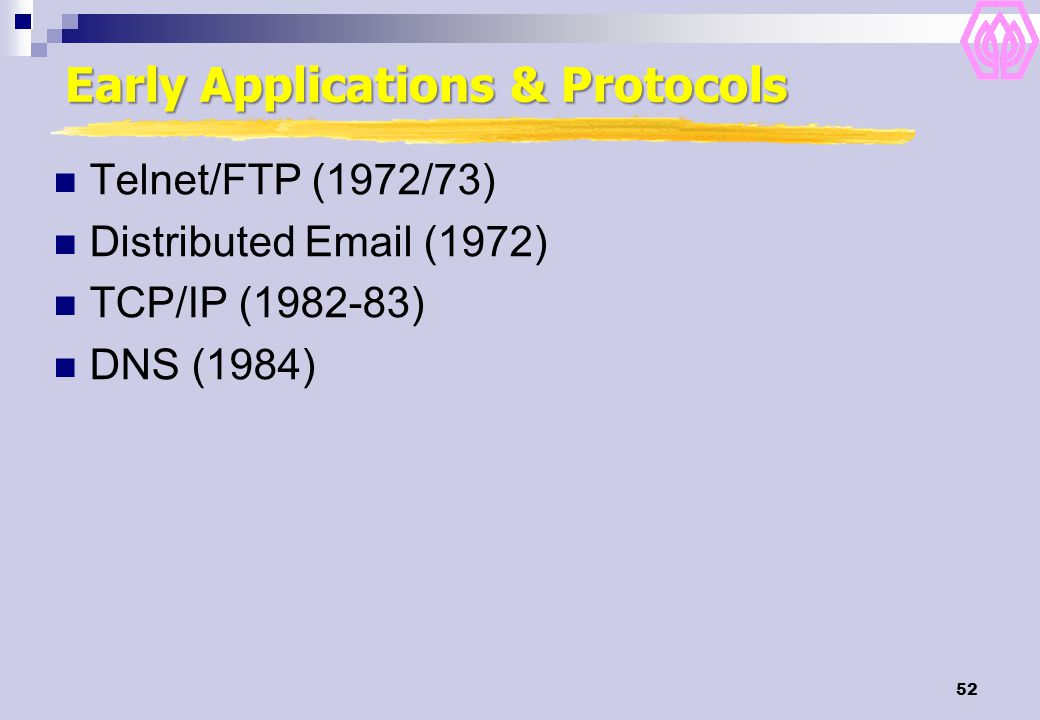 Early Applications & Protocols
