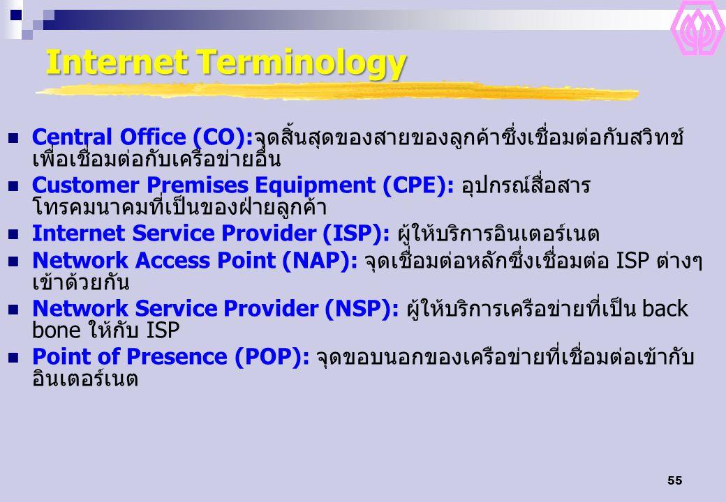 Internet Terminology Central Office (CO):จุดสิ้นสุดของสายของลูกค้าซึ่งเชื่อมต่อกับสวิทช์เพื่อเชื่อมต่อกับเครือข่ายอื่น.