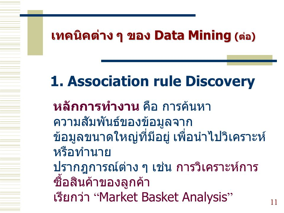 1. Association rule Discovery