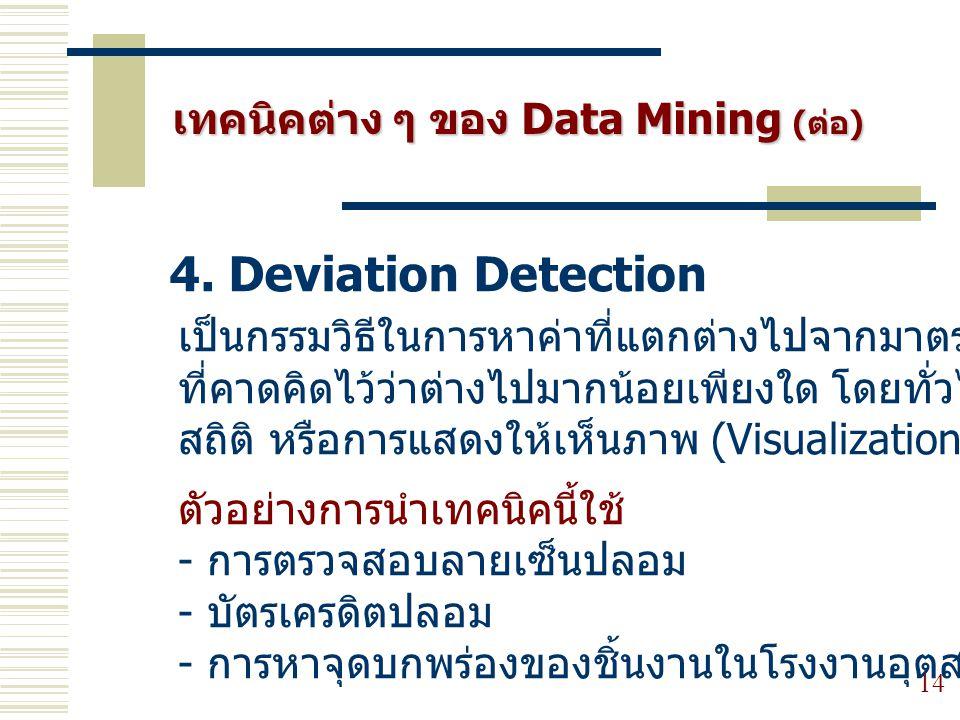4. Deviation Detection เทคนิคต่าง ๆ ของ Data Mining (ต่อ)