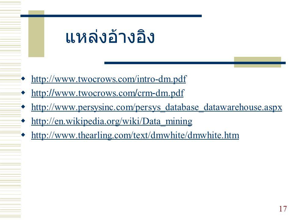 แหล่งอ้างอิง http://www.twocrows.com/intro-dm.pdf