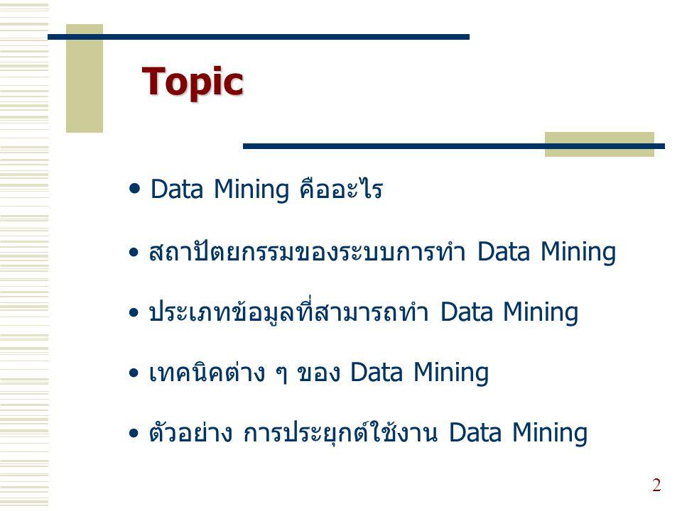 Topic Data Mining คืออะไร สถาปัตยกรรมของระบบการทำ Data Mining