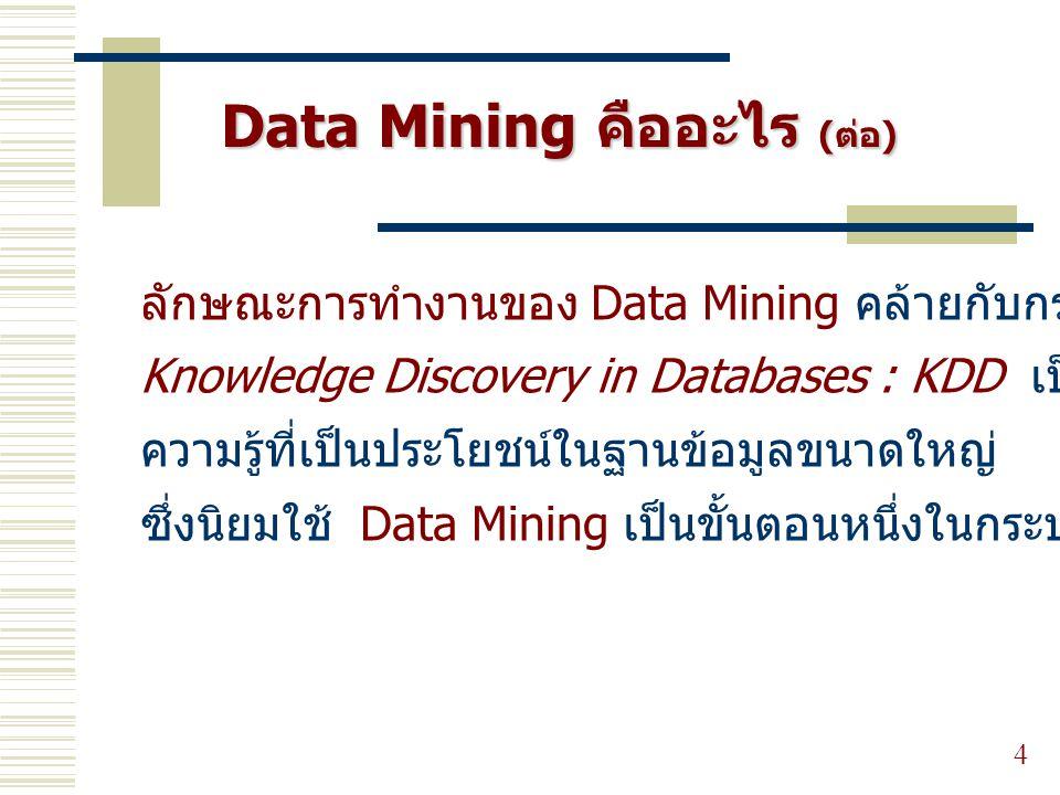 Data Mining คืออะไร (ต่อ)