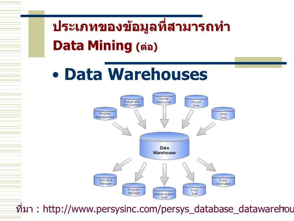 Data Warehouses ประเภทของข้อมูลที่สามารถทำ Data Mining (ต่อ)