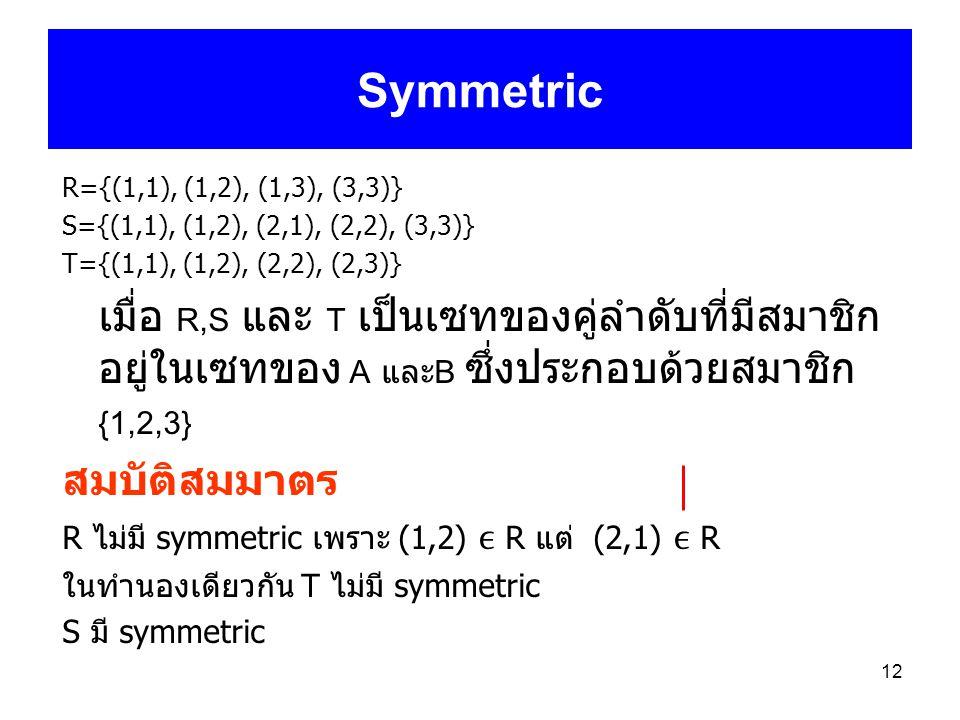Symmetric R={(1,1), (1,2), (1,3), (3,3)} S={(1,1), (1,2), (2,1), (2,2), (3,3)} T={(1,1), (1,2), (2,2), (2,3)}