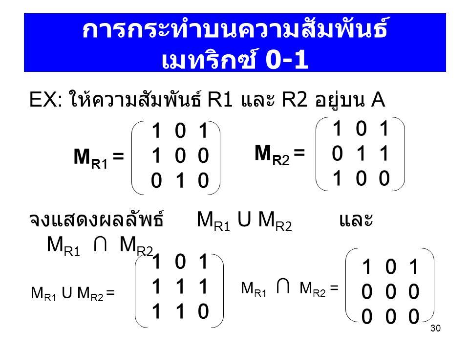 การกระทำบนความสัมพันธ์ เมทริกซ์ 0-1