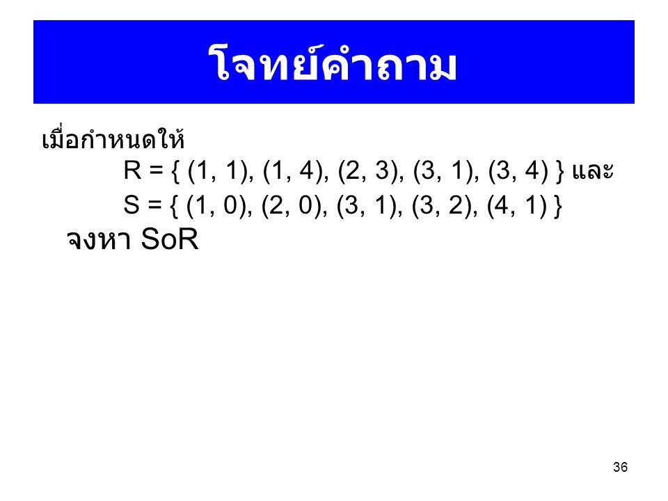 โจทย์คำถาม เมื่อกำหนดให้ R = { (1, 1), (1, 4), (2, 3), (3, 1), (3, 4) } และ S = { (1, 0), (2, 0), (3, 1), (3, 2), (4, 1) } จงหา SoR.