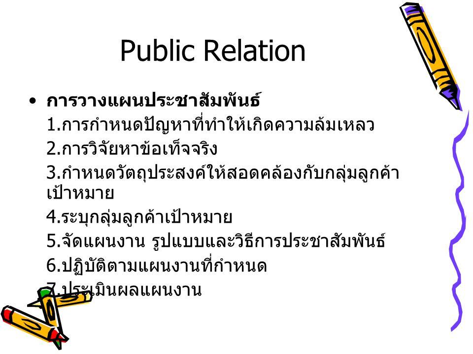 Public Relation การวางแผนประชาสัมพันธ์