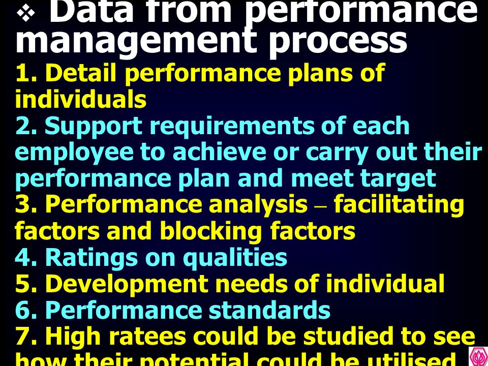 Data from performance management process