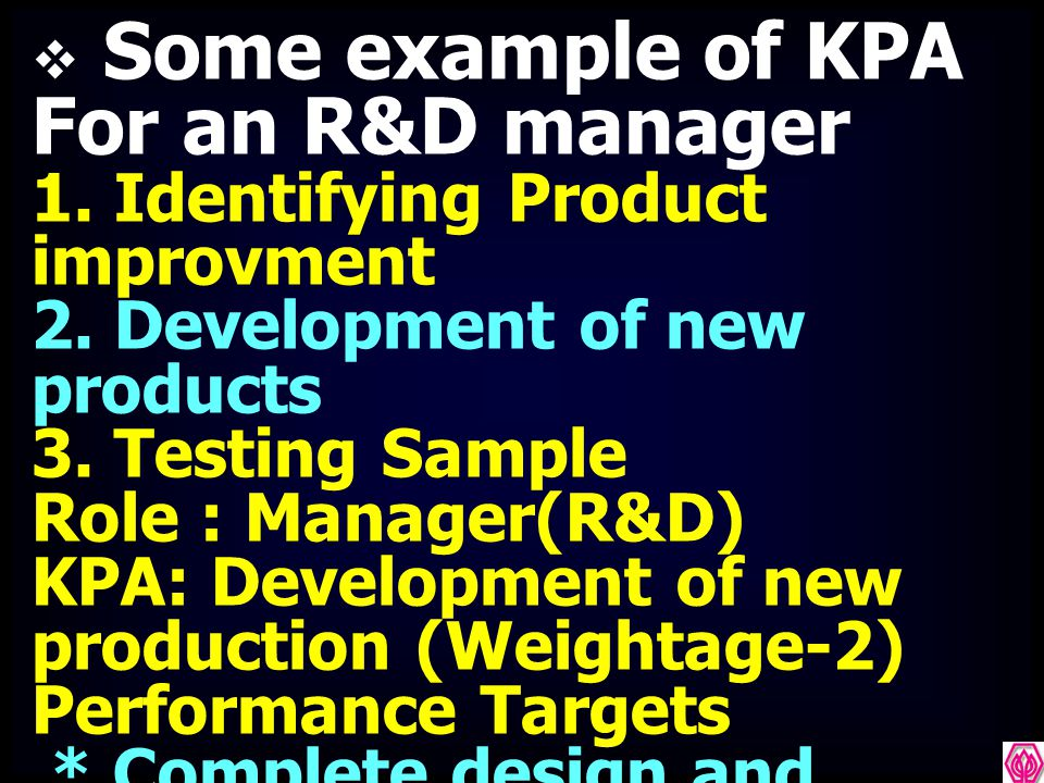 Some example of KPA For an R&D manager