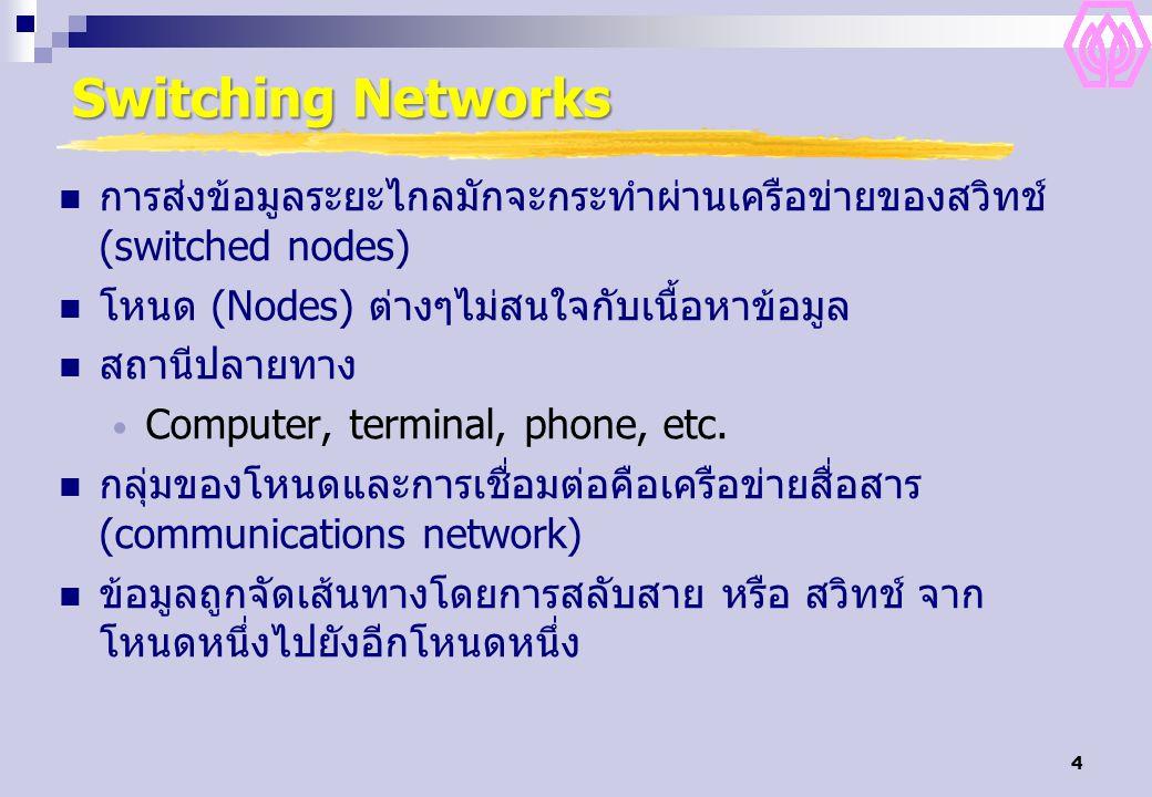 Switching Networks การส่งข้อมูลระยะไกลมักจะกระทำผ่านเครือข่ายของสวิทช์ (switched nodes) โหนด (Nodes) ต่างๆไม่สนใจกับเนื้อหาข้อมูล.