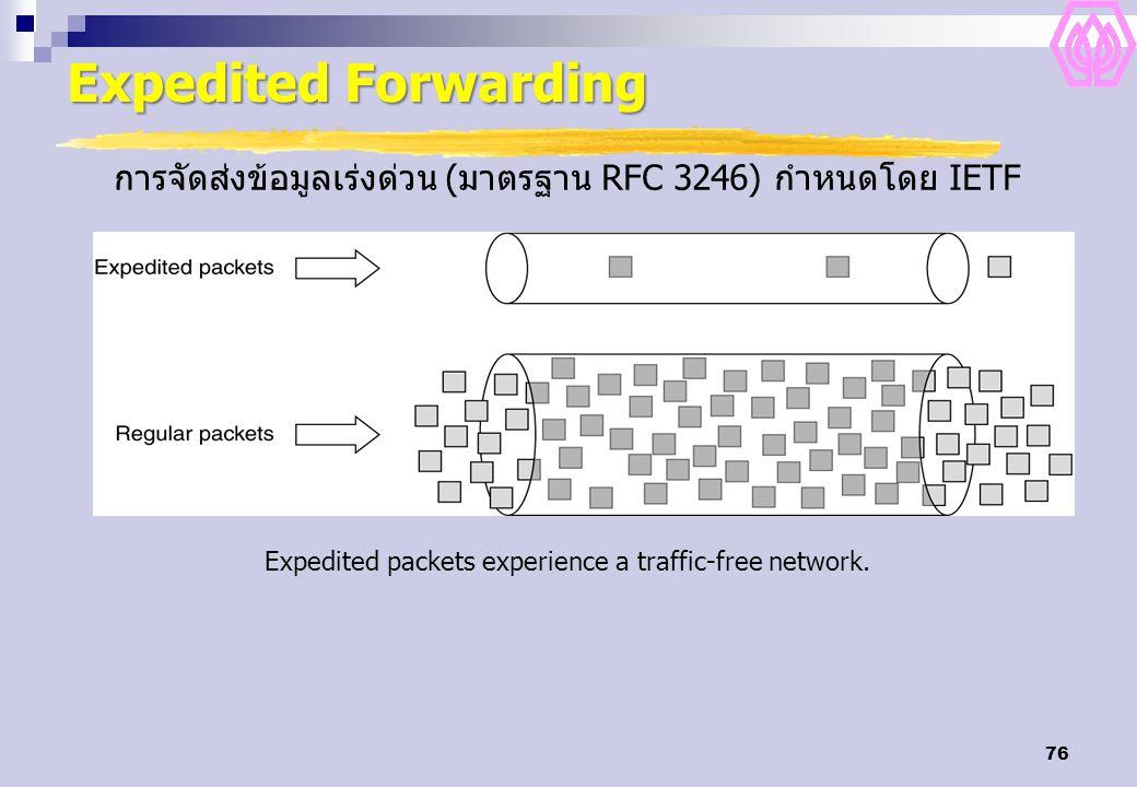 Expedited Forwarding การจัดส่งข้อมูลเร่งด่วน (มาตรฐาน RFC 3246) กำหนดโดย IETF.