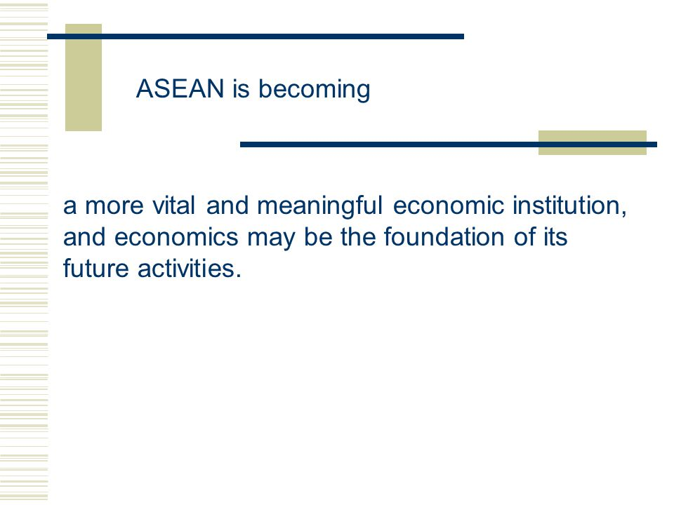 ASEAN is becoming a more vital and meaningful economic institution, and economics may be the foundation of its future activities.