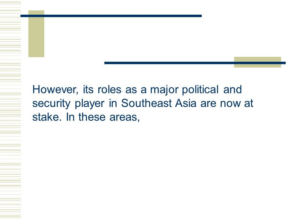 However, its roles as a major political and security player in Southeast Asia are now at stake.