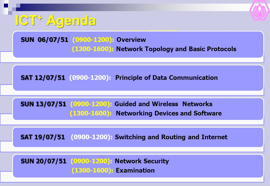 ICT+ Agenda SUN 06/07/51 (0900-1200): Overview