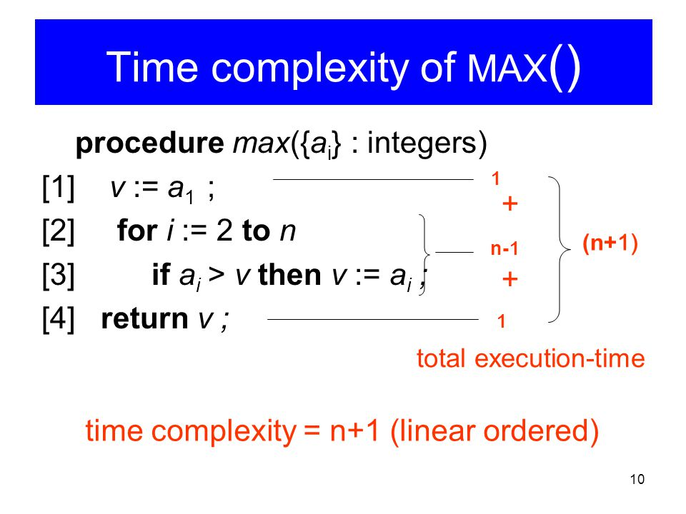 Time complexity of MAX()