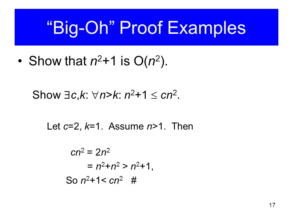 Big-Oh Proof Examples