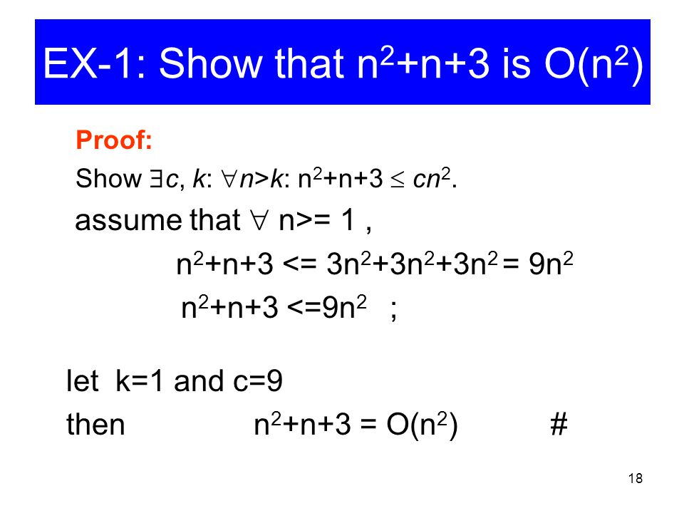 EX-1: Show that n2+n+3 is O(n2)