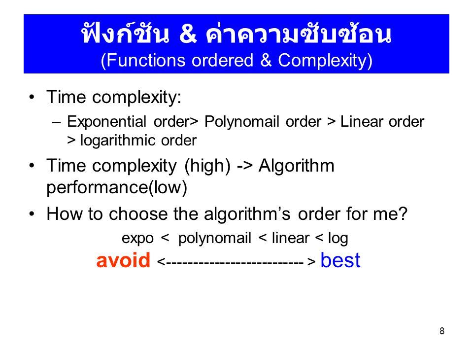 ฟังก์ชัน & ค่าความซับซ้อน (Functions ordered & Complexity)
