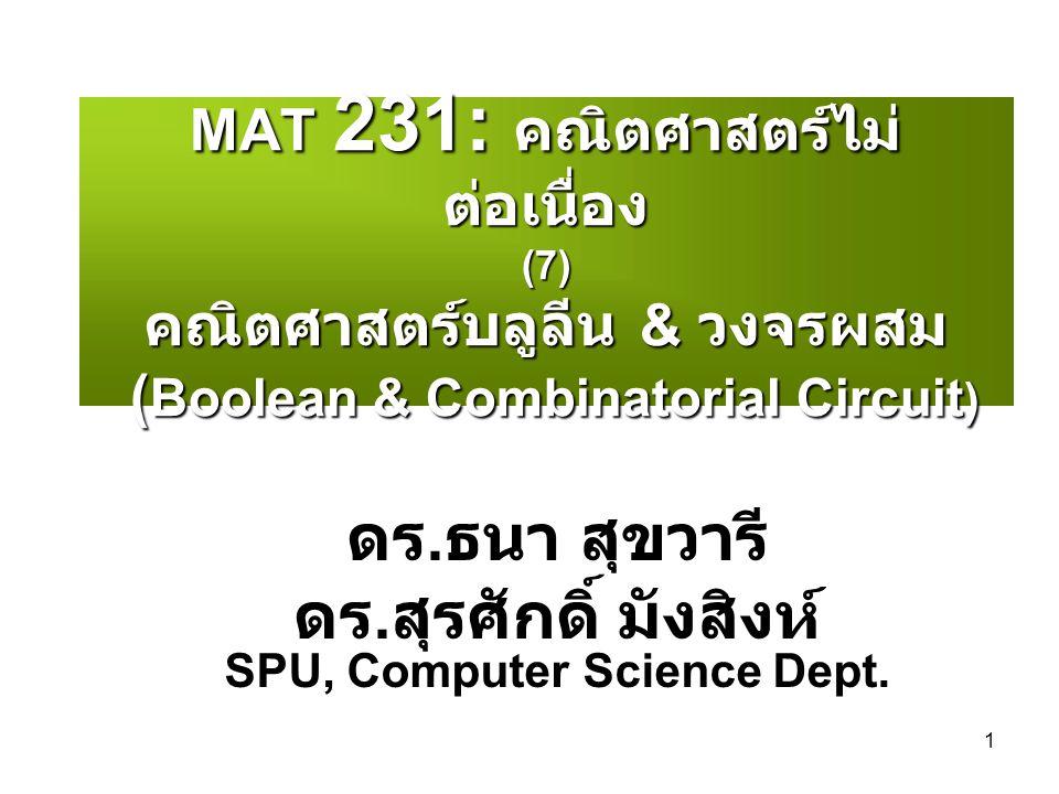 ดร.สุรศักดิ์ มังสิงห์ SPU, Computer Science Dept.