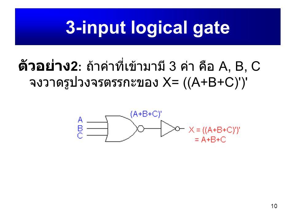 3-input logical gate ตัวอย่าง2: ถ้าค่าที่เข้ามามี 3 ค่า คือ A, B, C จงวาดรูปวงจรตรรกะของ X= ((A+B+C) )