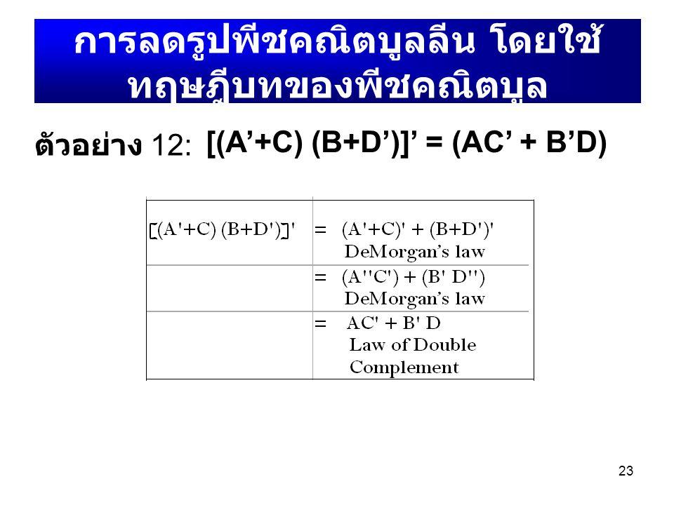 การลดรูปพีชคณิตบูลลีน โดยใช้ทฤษฎีบทของพีชคณิตบูล