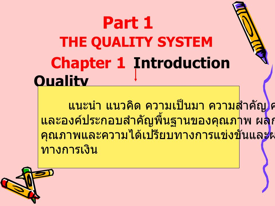 Part 1 THE QUALITY SYSTEM Chapter 1 Introduction Quality