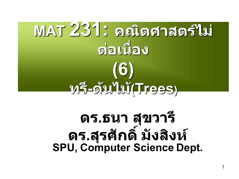MAT 231: คณิตศาสตร์ไม่ต่อเนื่อง (6) ทรี-ต้นไม้(Trees)