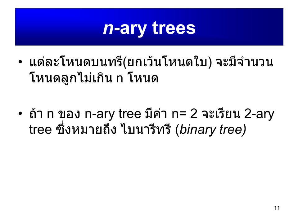 n-ary trees แต่ละโหนดบนทรี(ยกเว้นโหนดใบ) จะมีจำนวนโหนดลูกไม่เกิน n โหนด.