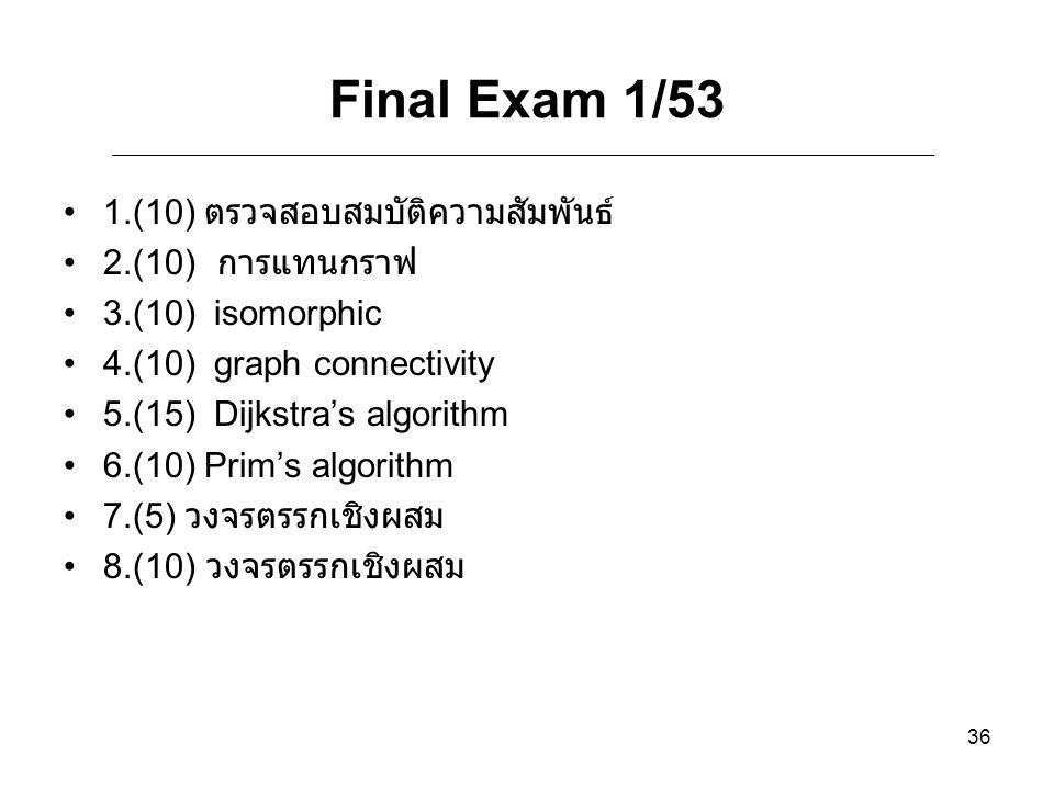 Final Exam 1/53 1.(10) ตรวจสอบสมบัติความสัมพันธ์ 2.(10) การแทนกราฟ