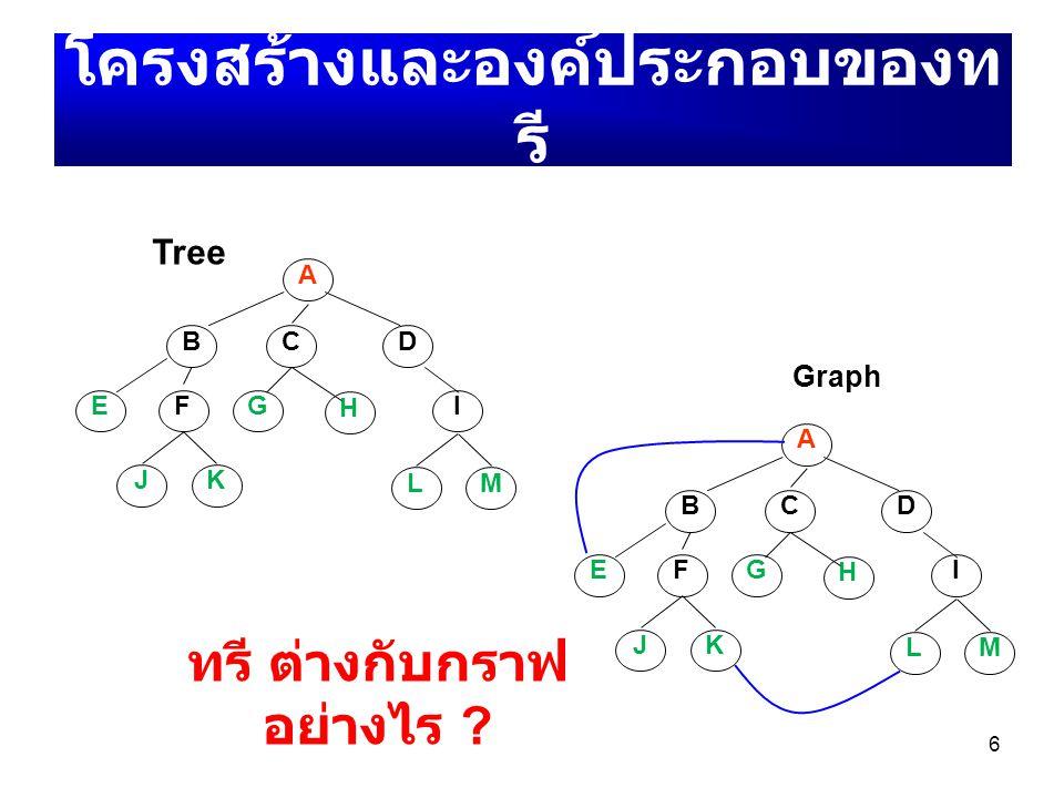 โครงสร้างและองค์ประกอบของทรี ทรี ต่างกับกราฟอย่างไร