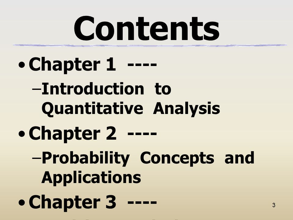 Contents Chapter 1 ---- Chapter 2 ---- Chapter 3 ----