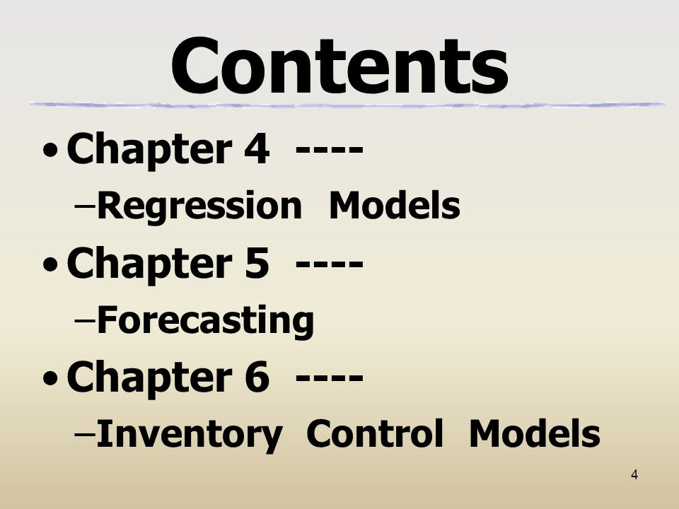 Contents Chapter 4 ---- Chapter 5 ---- Chapter 6 ----