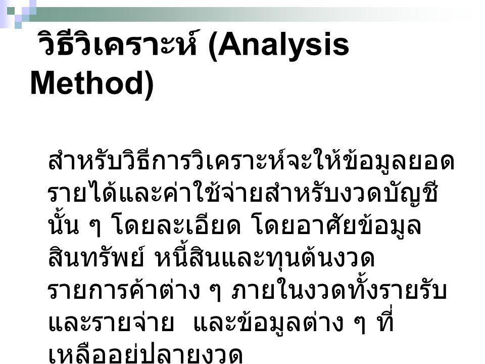 วิธีวิเคราะห์ (Analysis Method)
