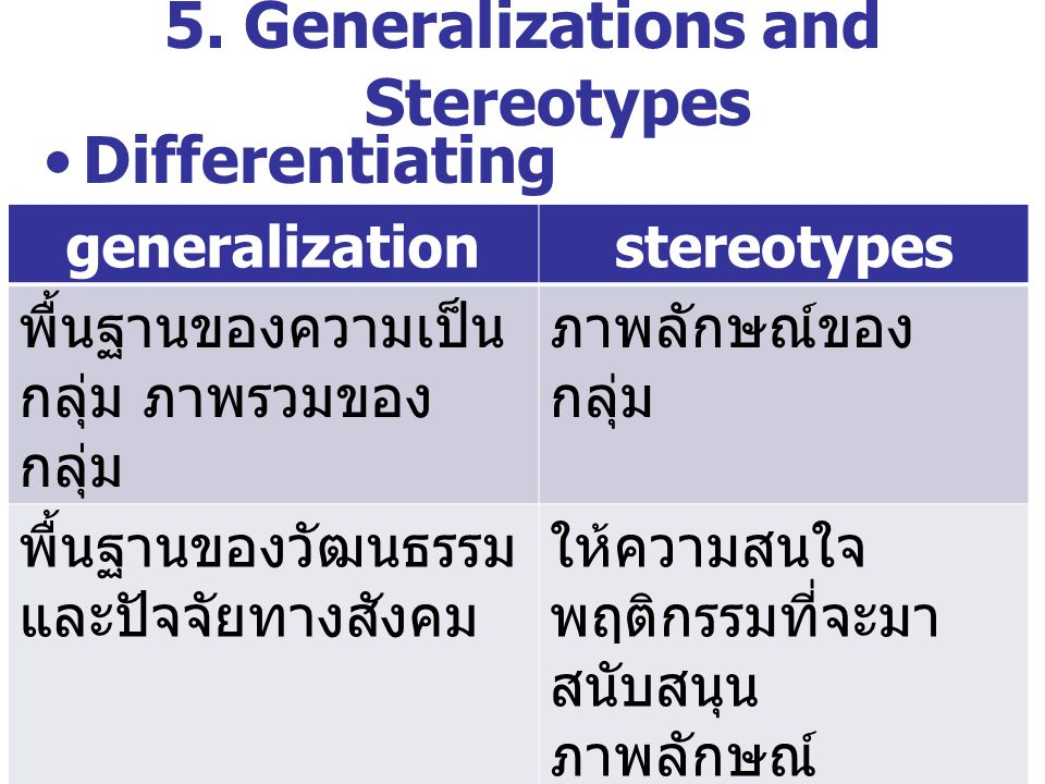 5. Generalizations and Stereotypes