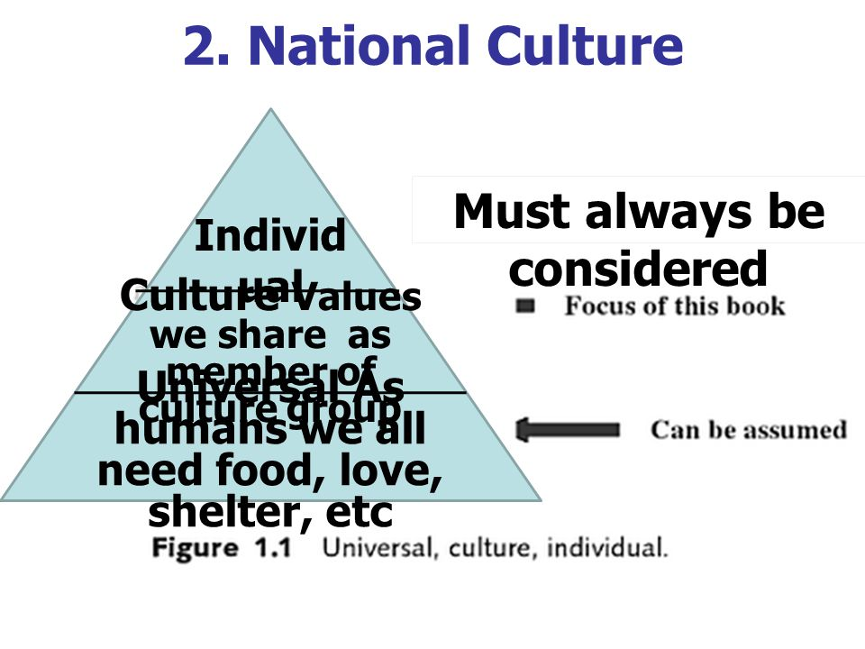 2. National Culture Must always be considered Individual