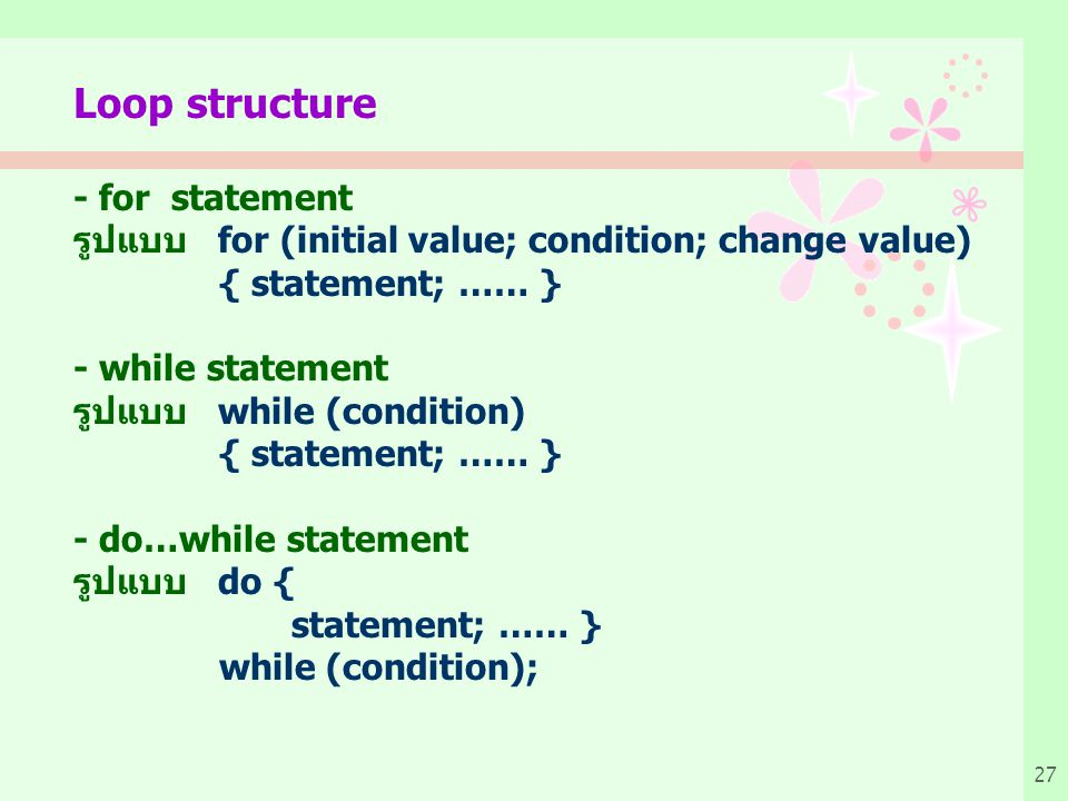 Loop structure - for statement