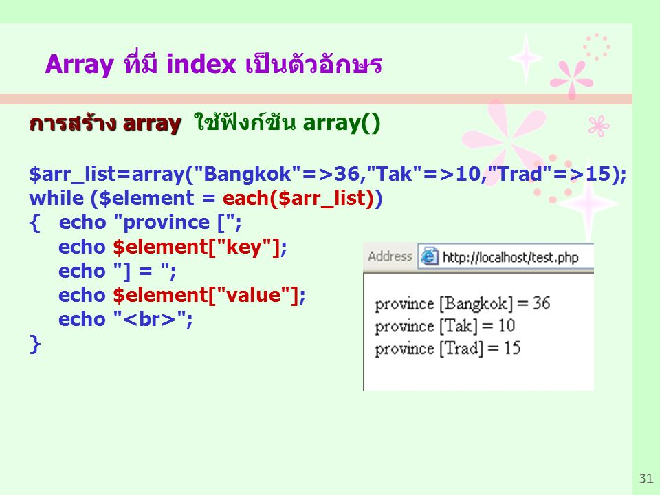 Array ที่มี index เป็นตัวอักษร