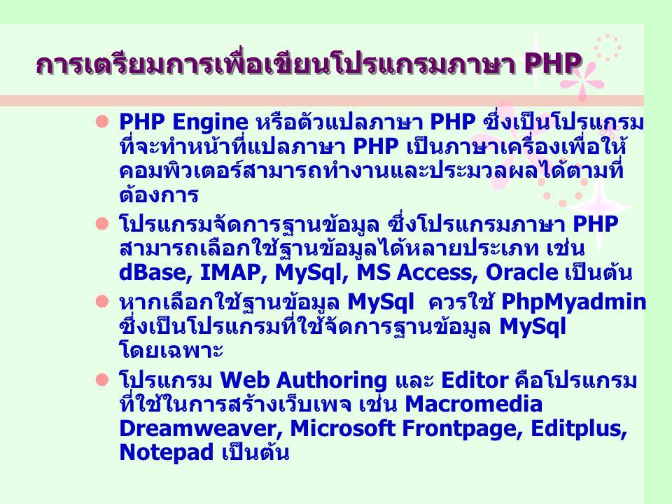 การเตรียมการเพื่อเขียนโปรแกรมภาษา PHP