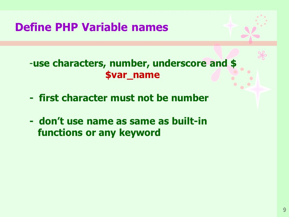 Define PHP Variable names