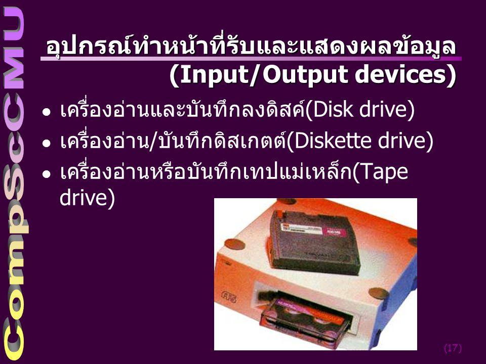 อุปกรณ์ทำหน้าที่รับและแสดงผลข้อมูล (Input/Output devices)