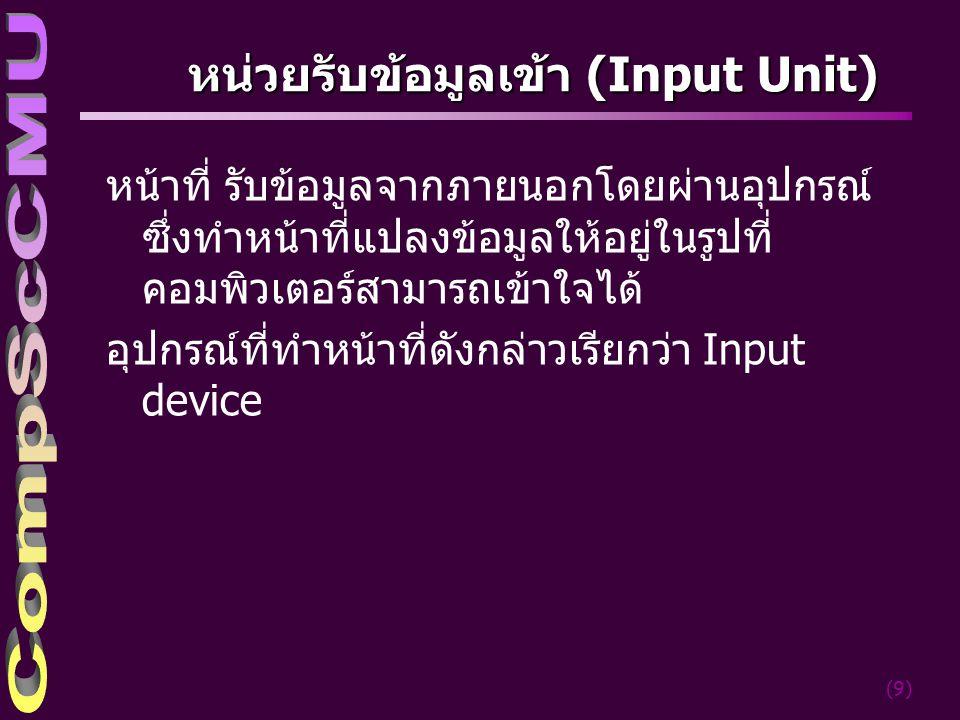 หน่วยรับข้อมูลเข้า (Input Unit)