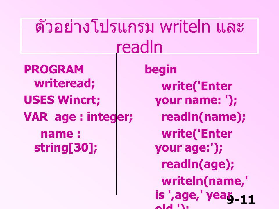 ตัวอย่างโปรแกรม writeln และ readln