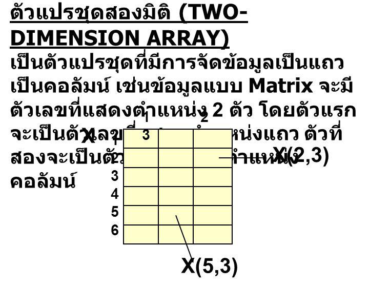 ตัวแปรชุดสองมิติ (TWO-DIMENSION ARRAY)