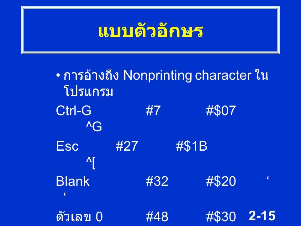 แบบตัวอักษร การอ้างถึง Nonprinting character ในโปรแกรม