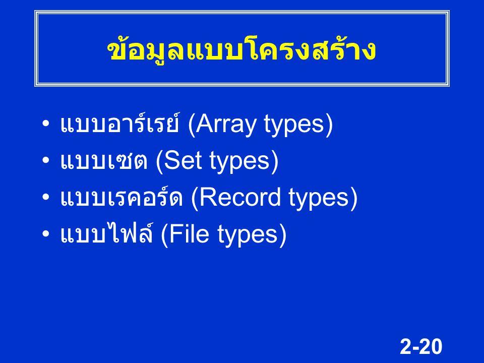 ข้อมูลแบบโครงสร้าง แบบอาร์เรย์ (Array types) แบบเซต (Set types)