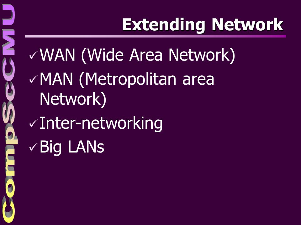 WAN (Wide Area Network) MAN (Metropolitan area Network)