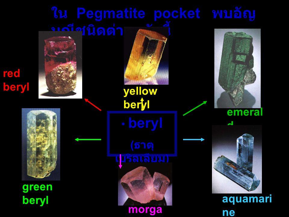ใน Pegmatite pocket พบอัญมณีชนิดต่างๆ ดังนี้