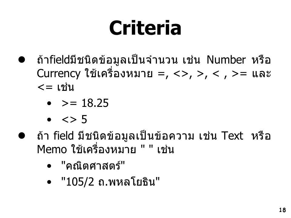 Criteria ถ้าfieldมีชนิดข้อมูลเป็นจำนวน เช่น Number หรือ Currency ใช้เครื่องหมาย =, <>, >, < , >= และ <= เช่น.