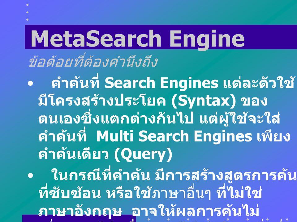 MetaSearch Engine ข้อด้อยที่ต้องคำนึงถึง